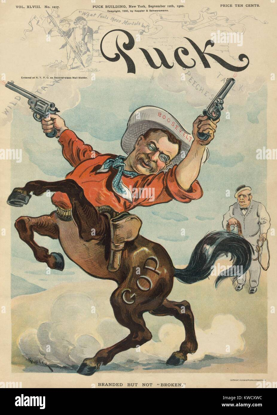 Theodore Roosevelt as a bucking bronco firing two revolvers. PUCK Magazine cartoon of Sept. 12, 1900 when Roosevelt - Stock Image