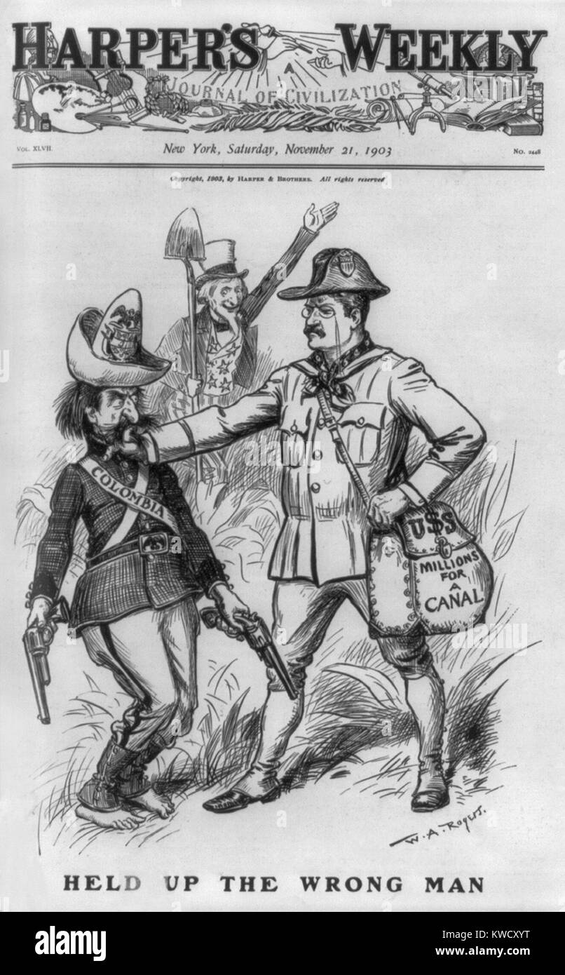 Harpers Weekly cover showing Colombia, as bandit, being halted by Theodore Roosevelt. The cartoon of Nov. 21, 1903 - Stock Image