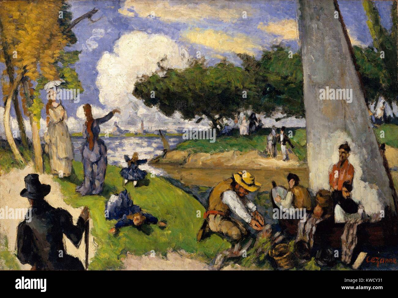 Fishermen (Fantastic Scene), by Paul Cezanne, 1875, French Post-Impressionist oil painting. This imagined scene Stock Photo