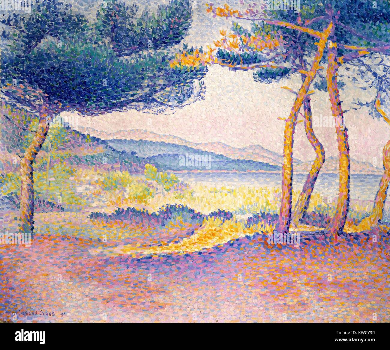 Pines Along the Shore, by Henri-Edmond Cross, 1896, French Neo-Impressionist, oil on canvas. Painted in south France - Stock Image