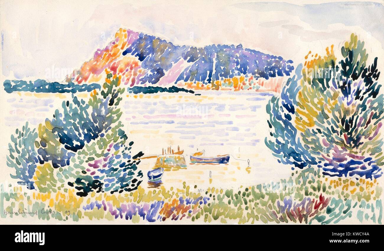 Cap Negre, by Henri-Edmond Cross, 1909, French Neo-Impressionist watercolor painting. The works abstracted color - Stock Image