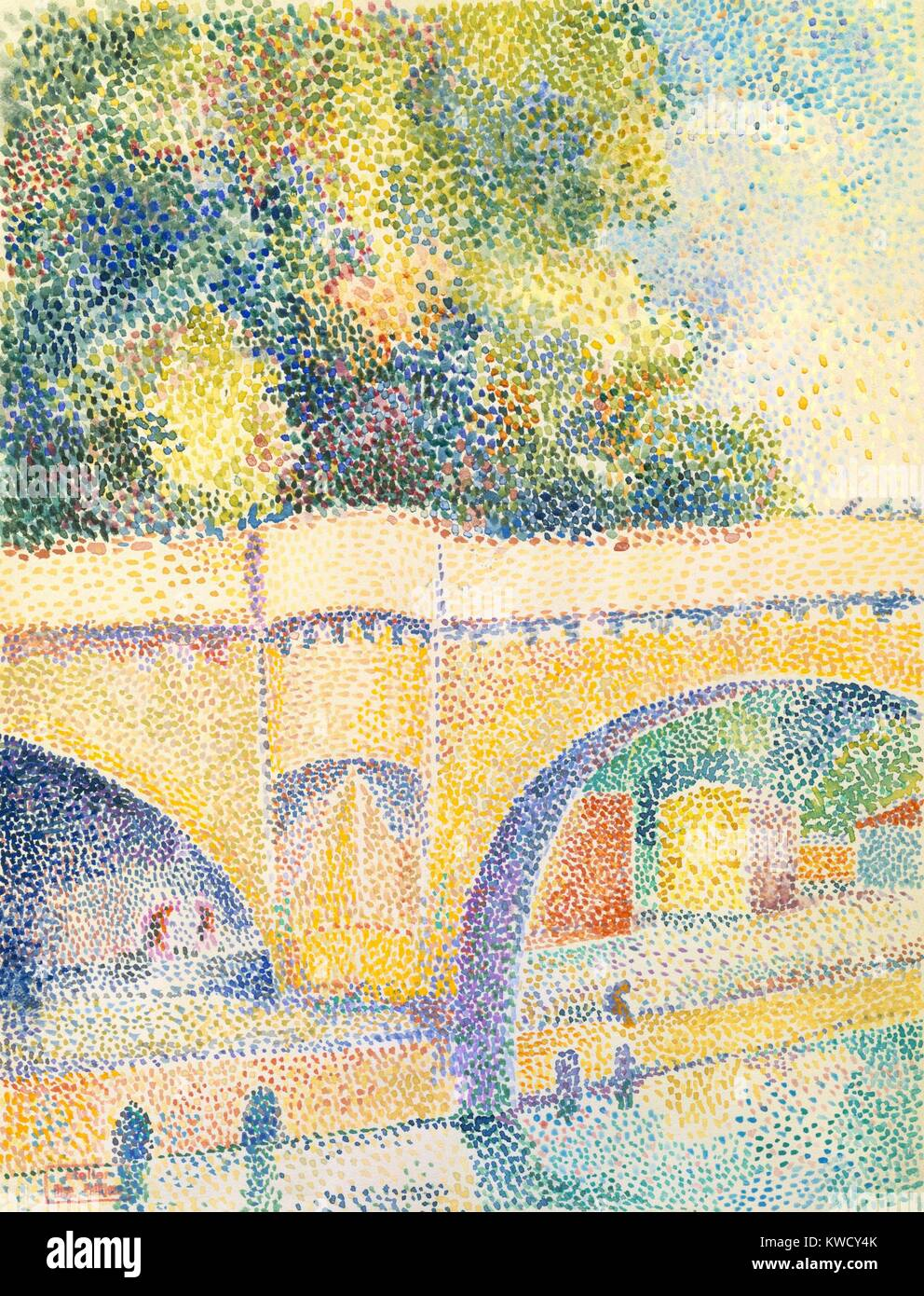 Le Pont Neuf, by Hippolyte Petitjean, 1912-14, French Neo-Impressionist, watercolor painting. Petitjean was a close - Stock Image