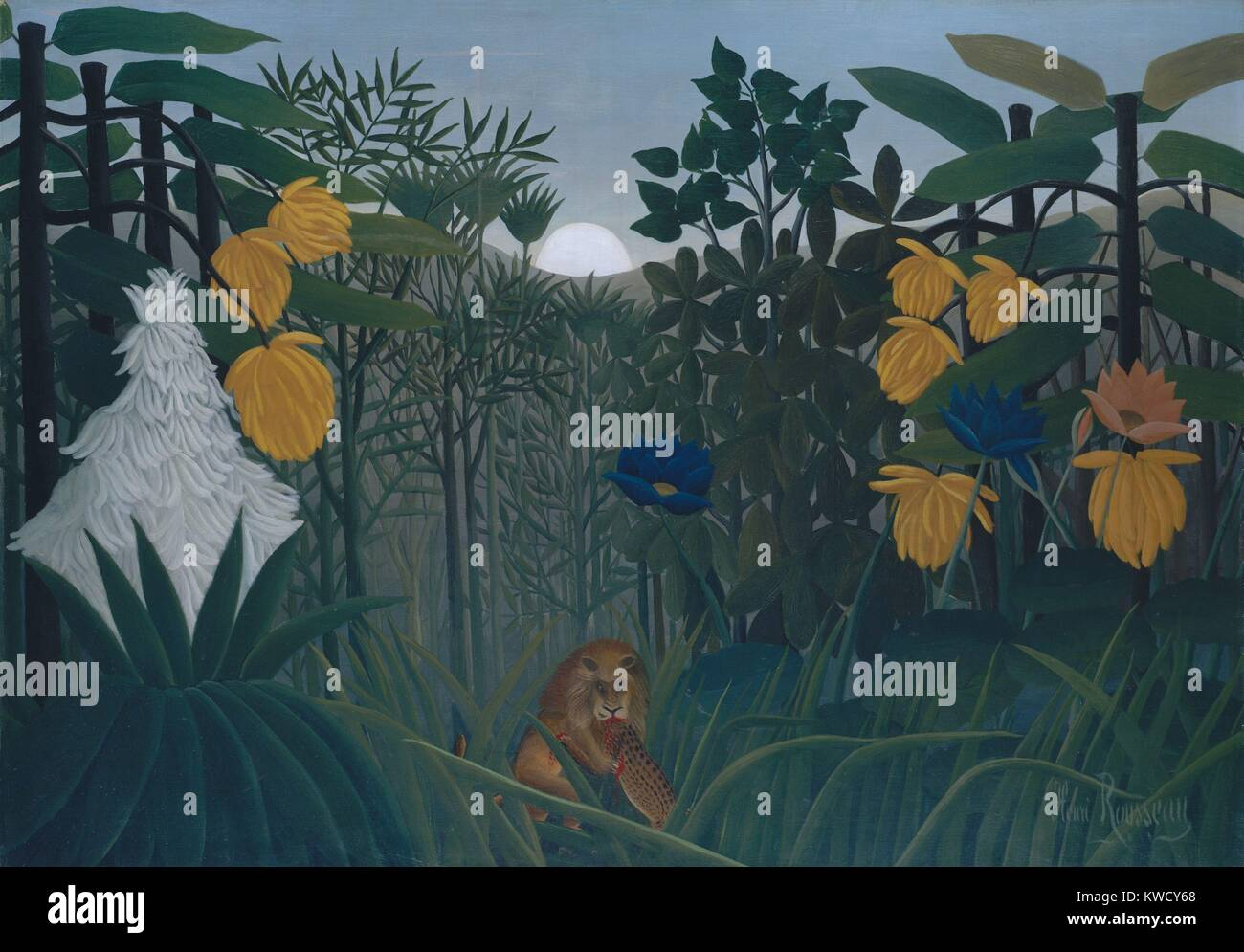 The Repast of the Lion, by Henri Rousseau, 1907, French Primitivism, painting, oil on canvas. The self-taught naive - Stock Image