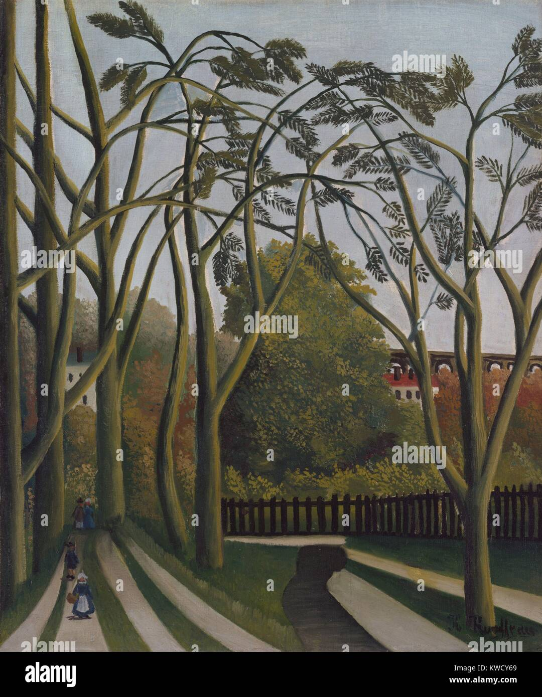 The Banks of the Bievre near Bicetre, by Henri Rousseau, 1908-09, French Primitivism, oil painting. The scene depicts - Stock Image