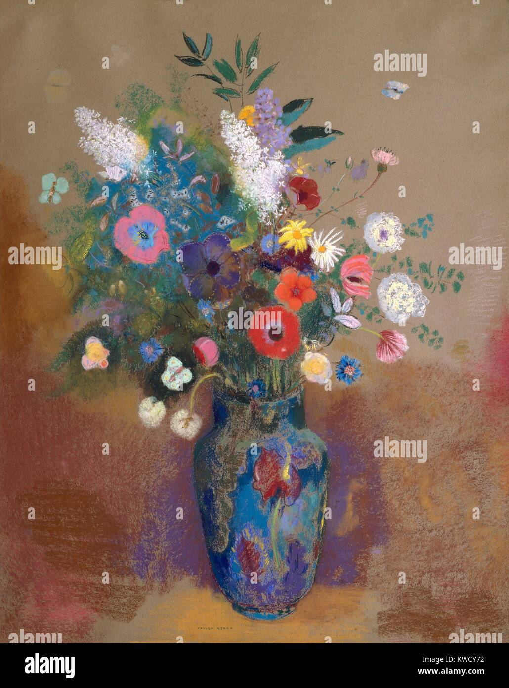 Bouquet of Flowers, by Odilon Redon, 1905, French Symbolist drawing, pastel on paper. Created when the artist was - Stock Image