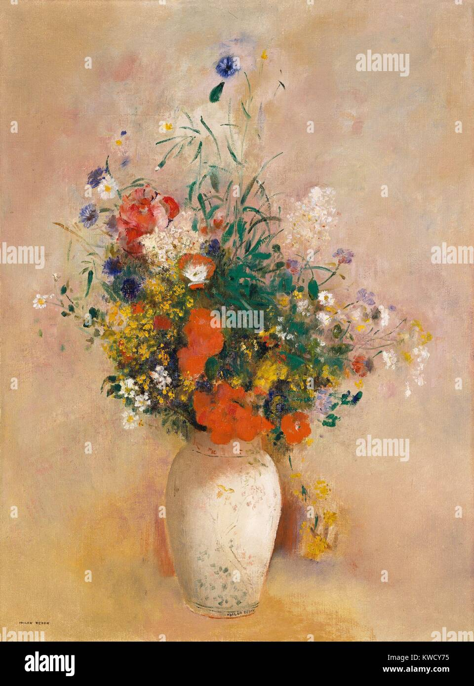 Vase of Flowers (Pink Background), by Odilon Redon, 1906, French Symbolist painting, oil on canvas. Redon painted Stock Photo