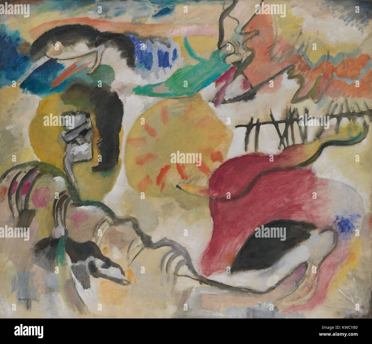 Improvisation 27 (Garden of Love II), by Vasily Kandinsky, 1912, Russian German Expressionist. This painting contains - Stock Image