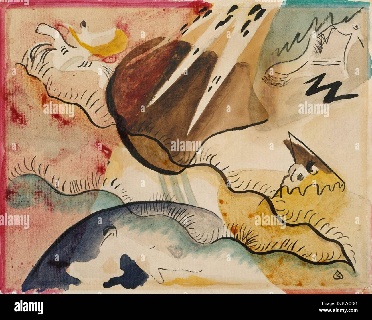 Rain Landscape, by Vasily Kandinsky, 1911, Russian German Expressionist drawing, watercolor on paper. In this abstract - Stock Image