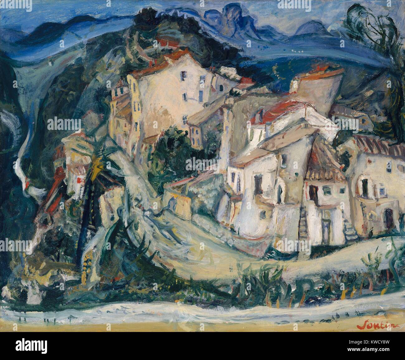 View of Cagnes, by Chaim Soutine, 1924-25, Russian French Expressionist painting, oil on canvas. 1923 to 1925, Soutine - Stock Image