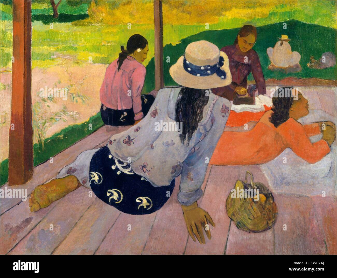 The Siesta, by Paul Gauguin, 1892-94, French Post-Impressionist painting, oil on canvas. Tahitian women gathered - Stock Image