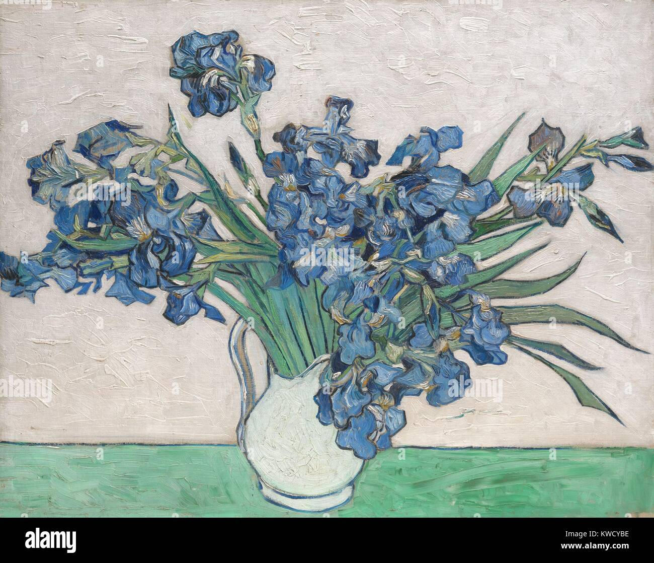 Irises, by Vincent Van Gogh, 1890, Dutch Post-Impressionist, oil on canvas. The paintings original pink background - Stock Image