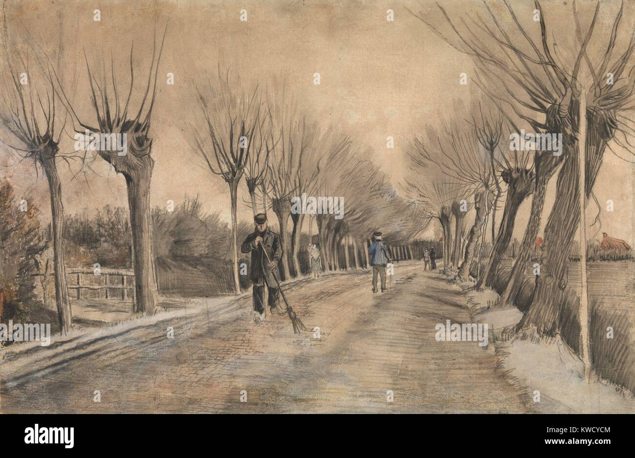 Road in Etten, by Vincent Van Gogh, 1881, Dutch Post-Impressionist drawing. This work was created during van Goghs Stock Photo