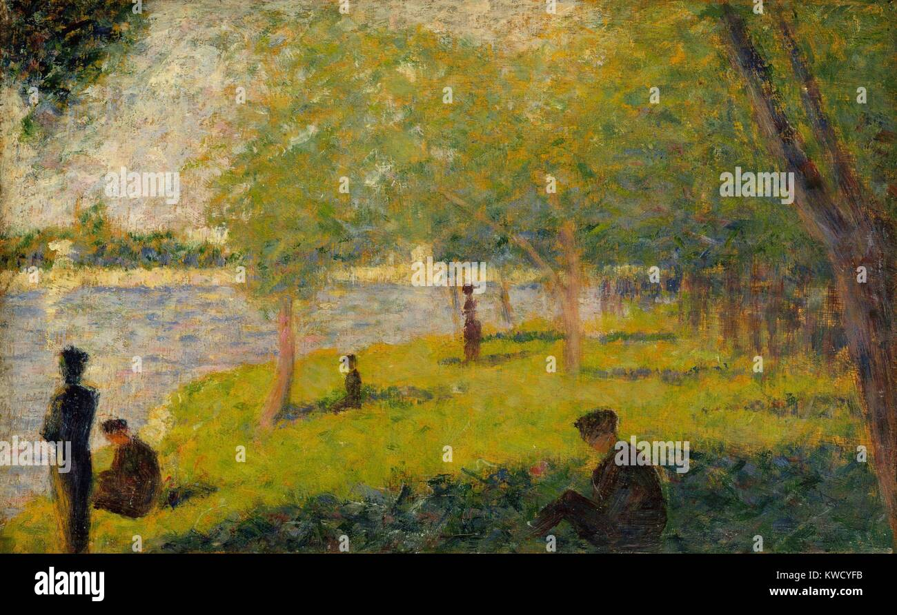 Study For A Sunday On La Grande Jatte By Georges Seurat 1884 French Post Impressionist Painting This Oil Wood Panel Is One Of About Fifty Preparatory