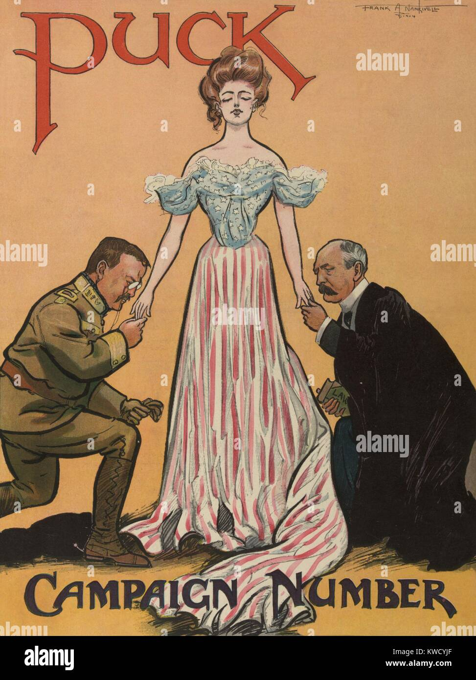 PUCK Magazine cover about the 1904 US Presidential election. It shows Columbia standing between kneeling President Stock Photo