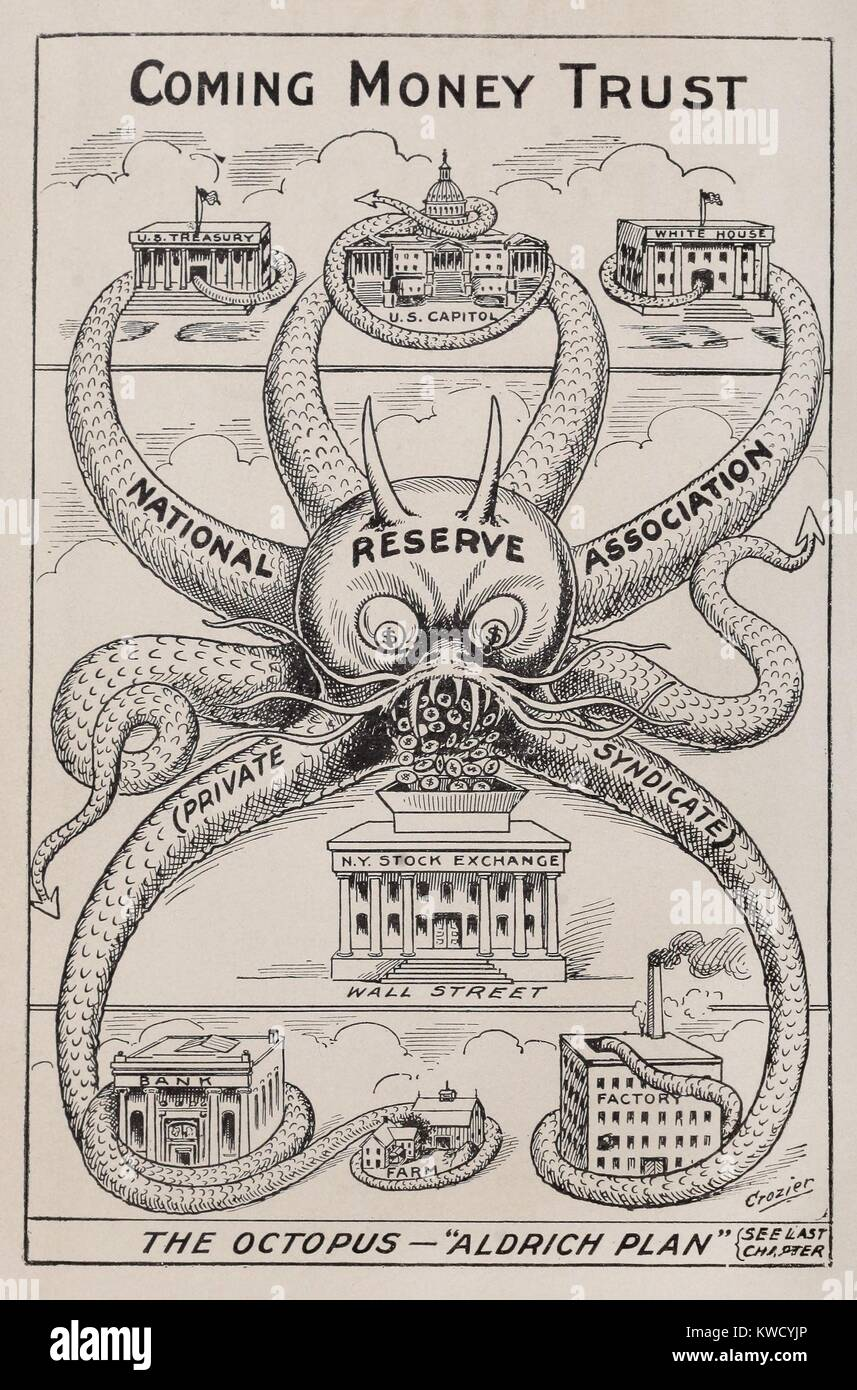 THE OCTOPUS-ALDRICH PLAN, THE COMING MONEY TRUST. 1912 cartoon by Alfred Owen Crozier, who opposed the re-establishment Stock Photo