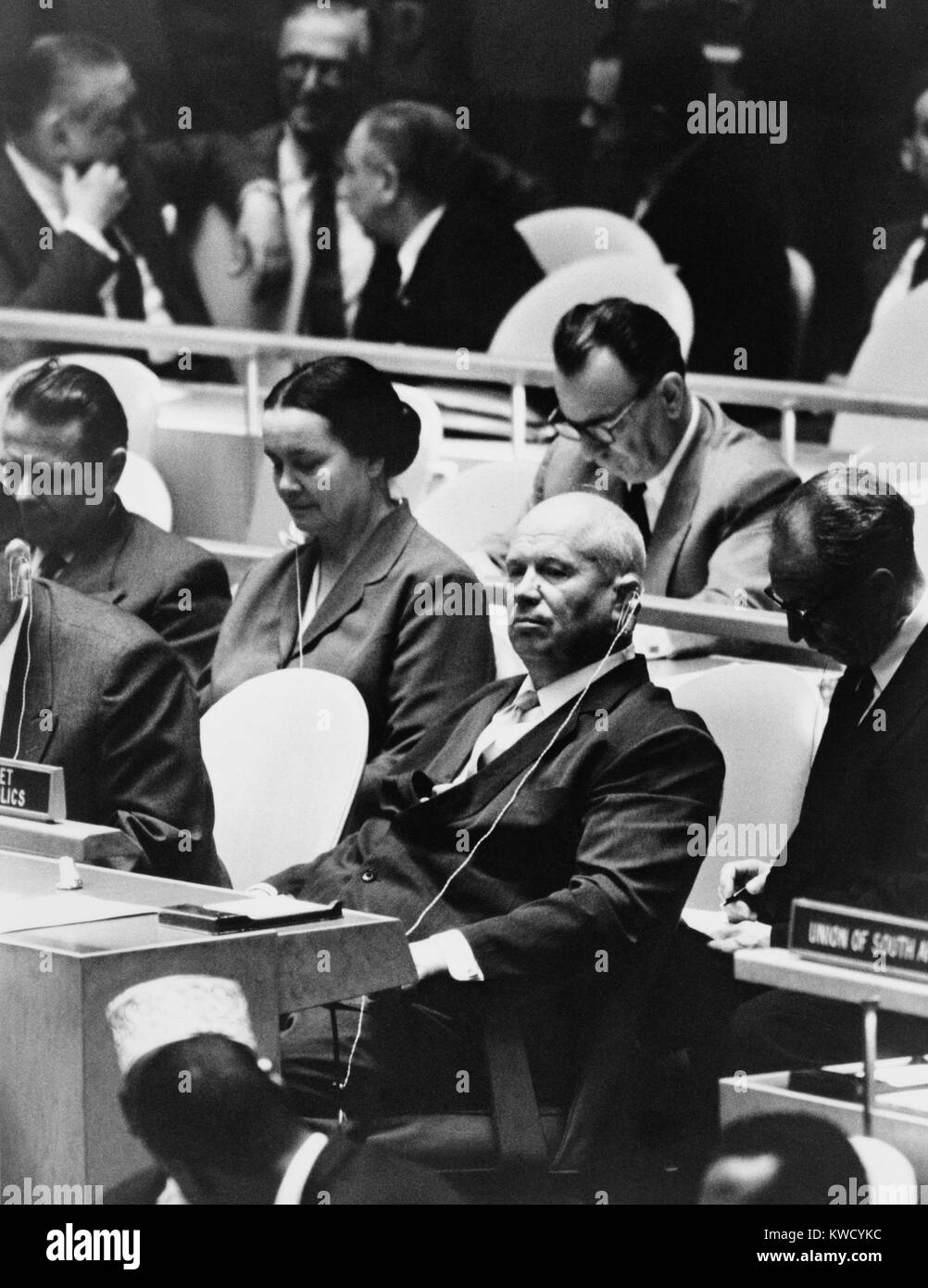 Nikita Khrushchev, leader of the Soviet Russia at the United Nations General Assembly, NYC, Sept. 22, 1960. 1960 - Stock Image