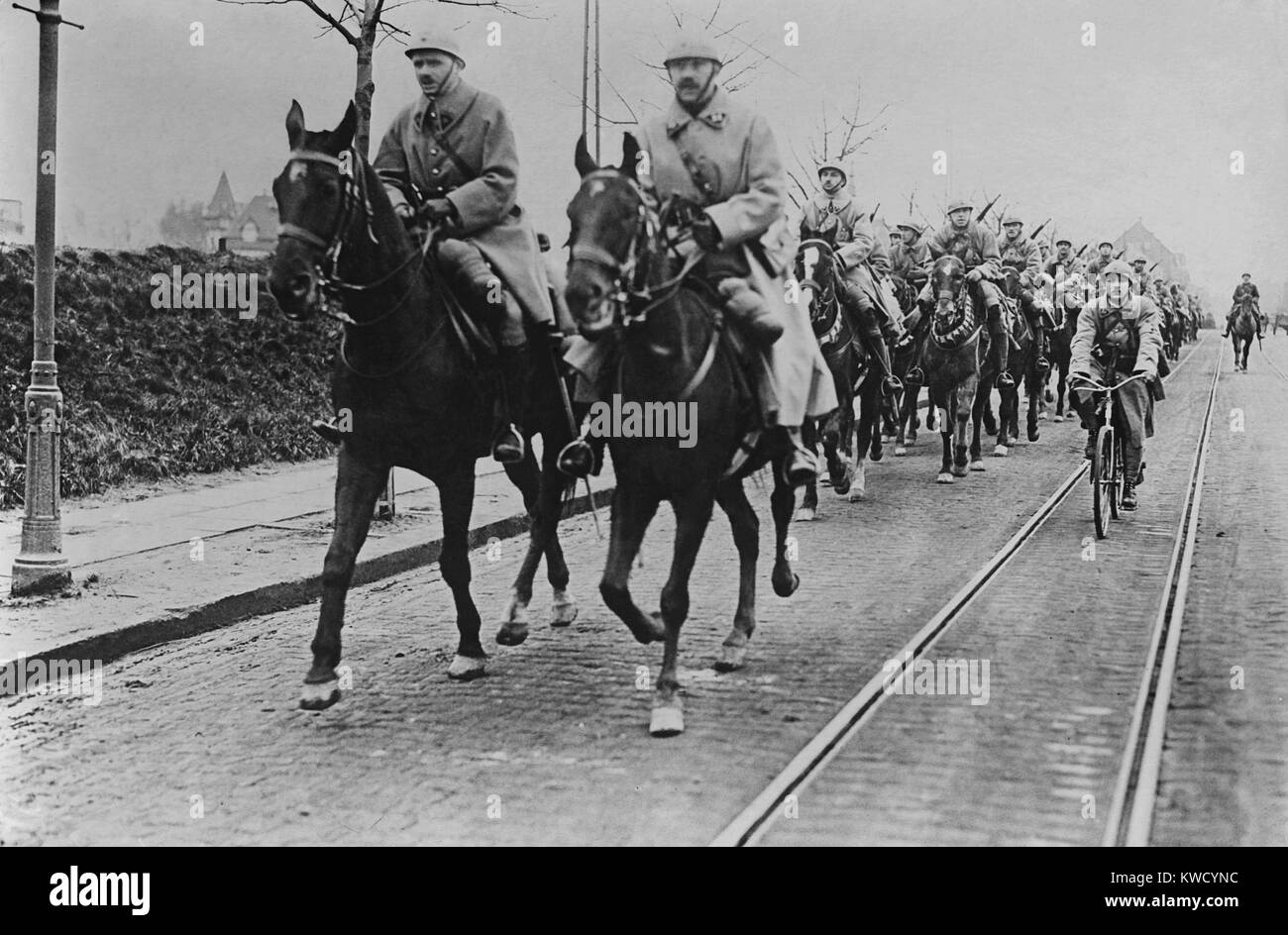 French armies occupying Essen in the German coal, iron, and steel producing Ruhr region in January 1923. Their mission - Stock Image