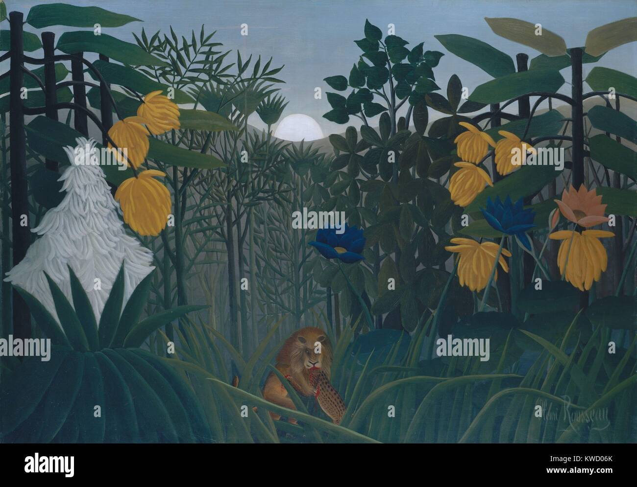 The Repast of the Lion, by Henri Rousseau, 1907, French Primitivism, painting, oil on canvas. The self-taught naive Stock Photo