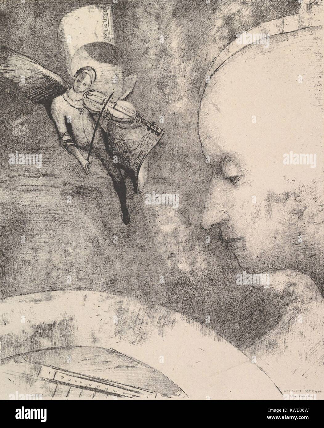 The Celestial Art, by Odilon Redon, 1894, French Symbolist print, lithograph. Anticipating Surrealism, Redons lithograph Stock Photo