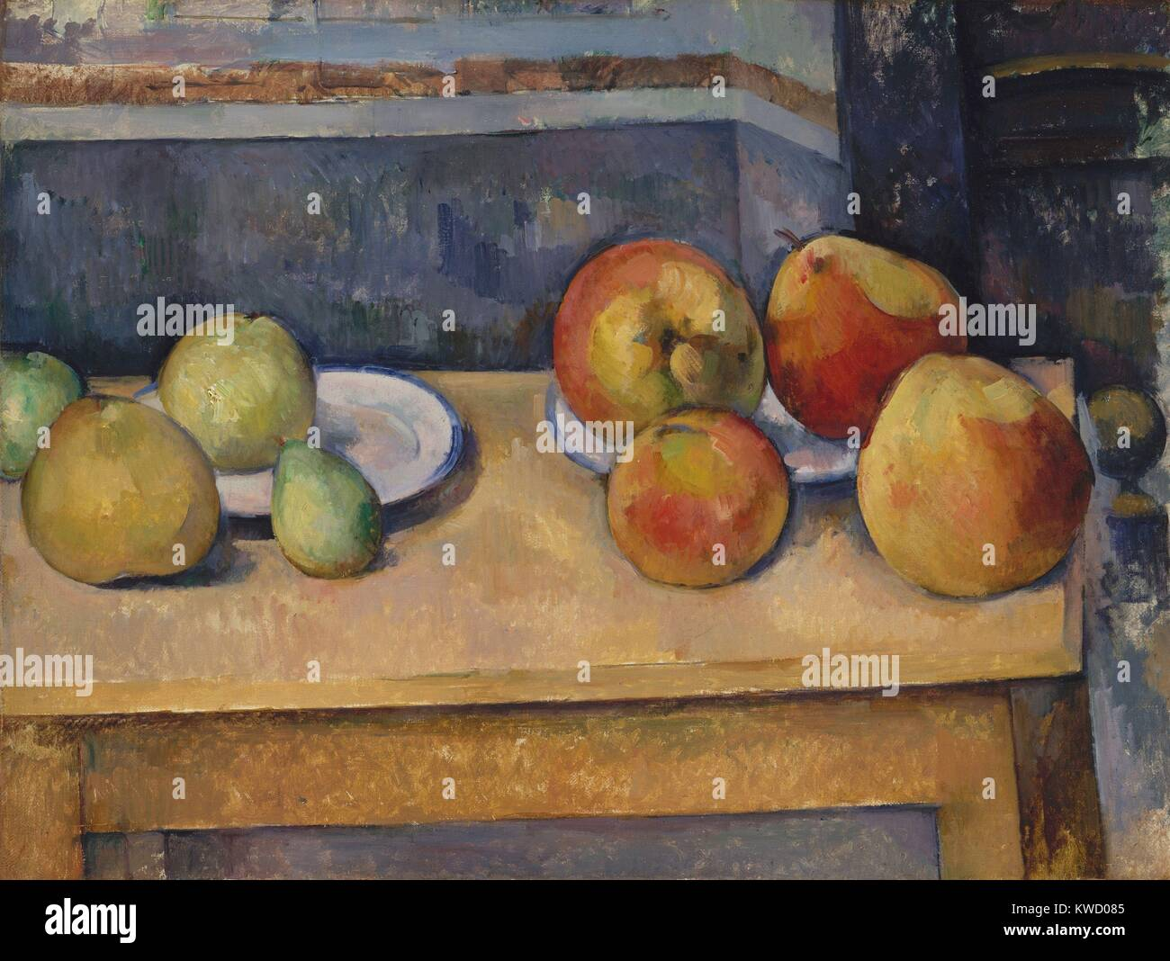 Still Life with Apples and Pears, by Paul Cezanne, 1891-92, French Post-Impressionist oil painting. The physical - Stock Image