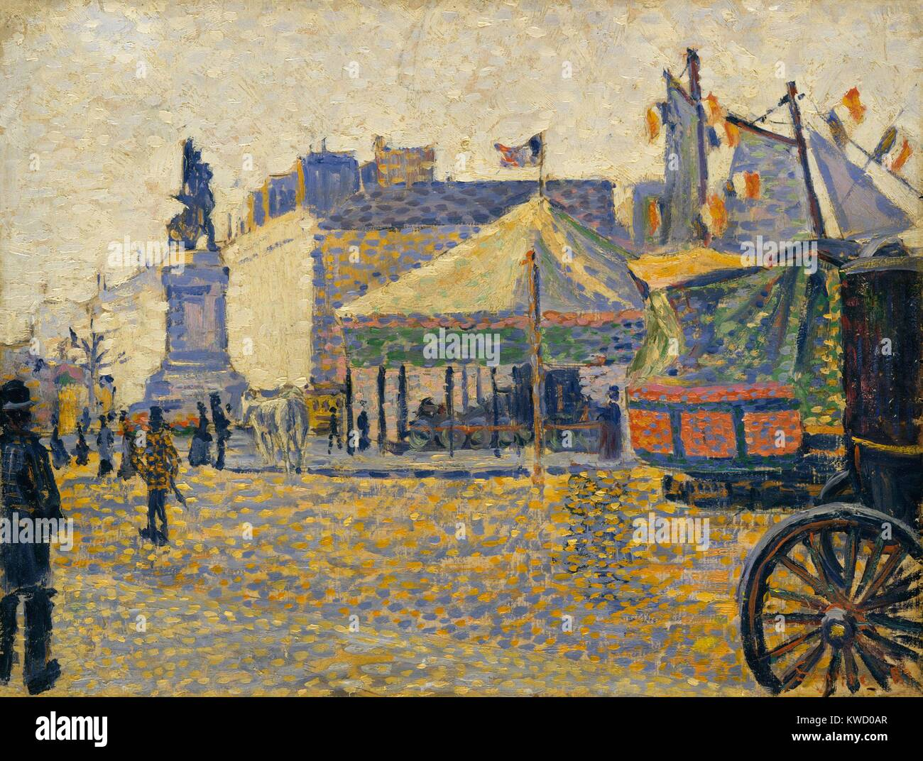 Place de Clichy, by Paul Signac, 1887, French Post-Impressionist painting, oil on wood. At age 18, when an architectural - Stock Image