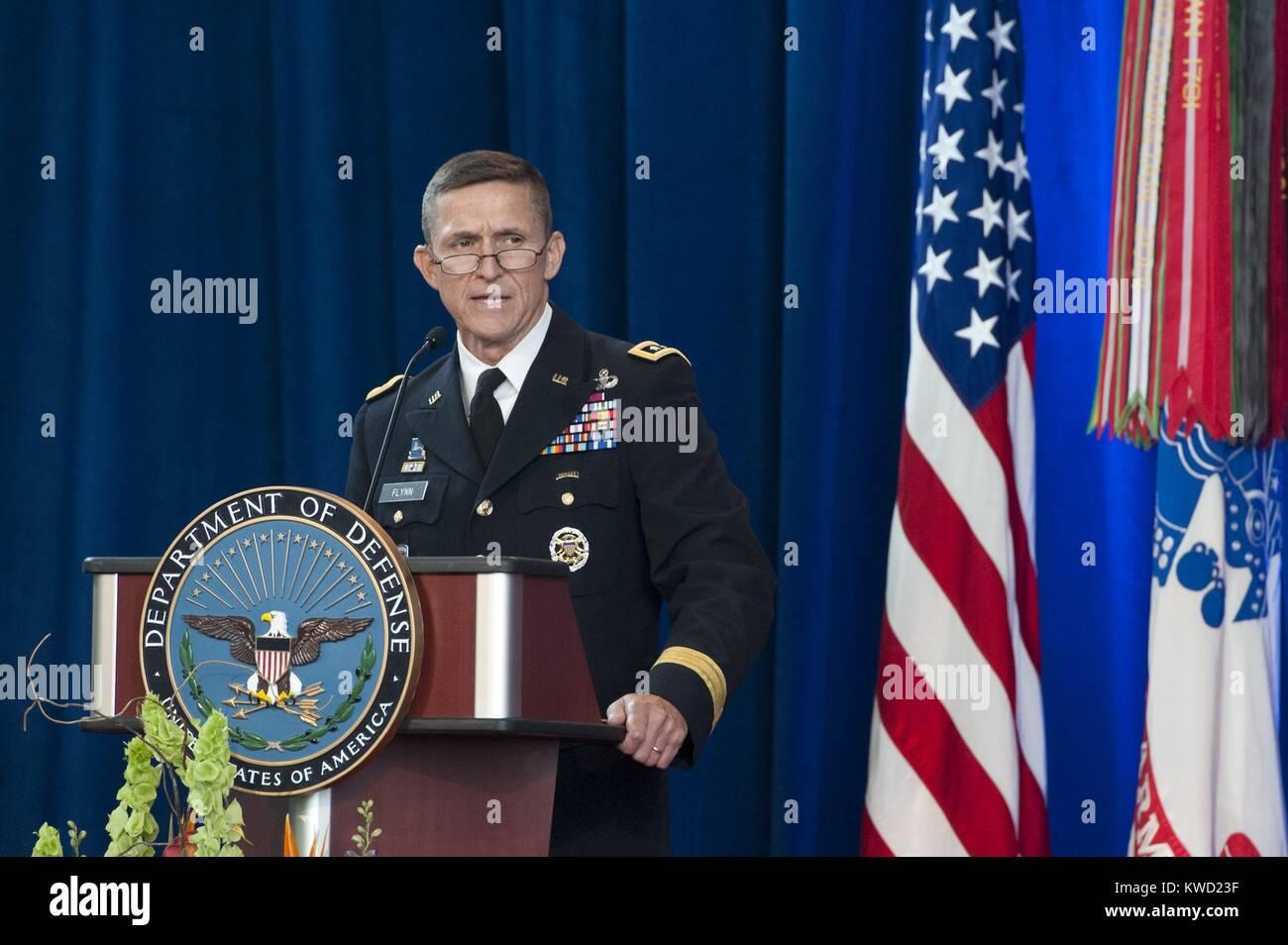 Lt. Gen. Michael Flynn speaks after assuming Directorship of Defense Intelligence Agency, July 24, 2012. He served - Stock Image
