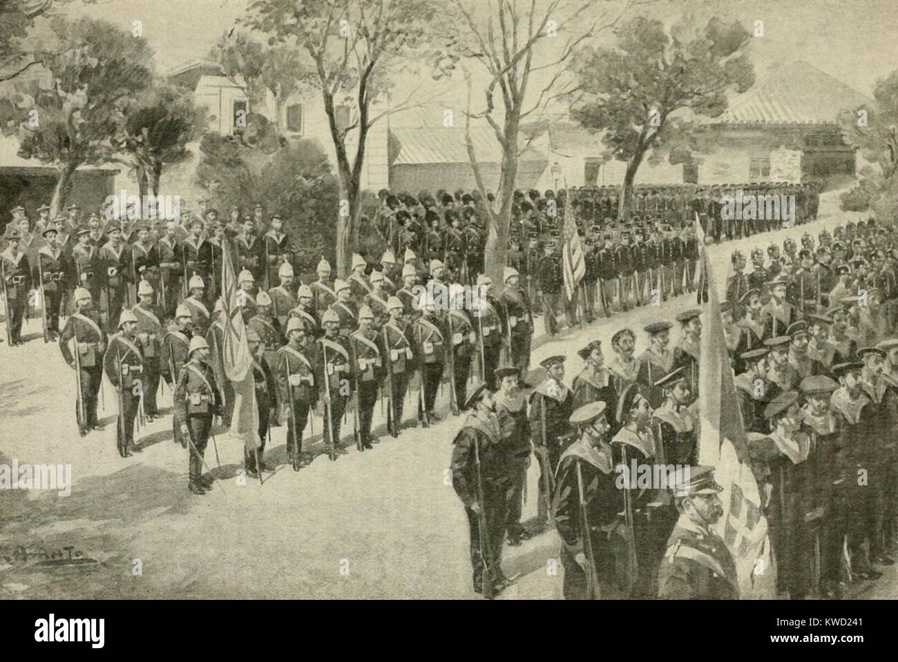 Muster of the 409 foreign legation guards in Beijing during the Boxer Rebellion, June 1900. On May 28, 1900, the - Stock Image