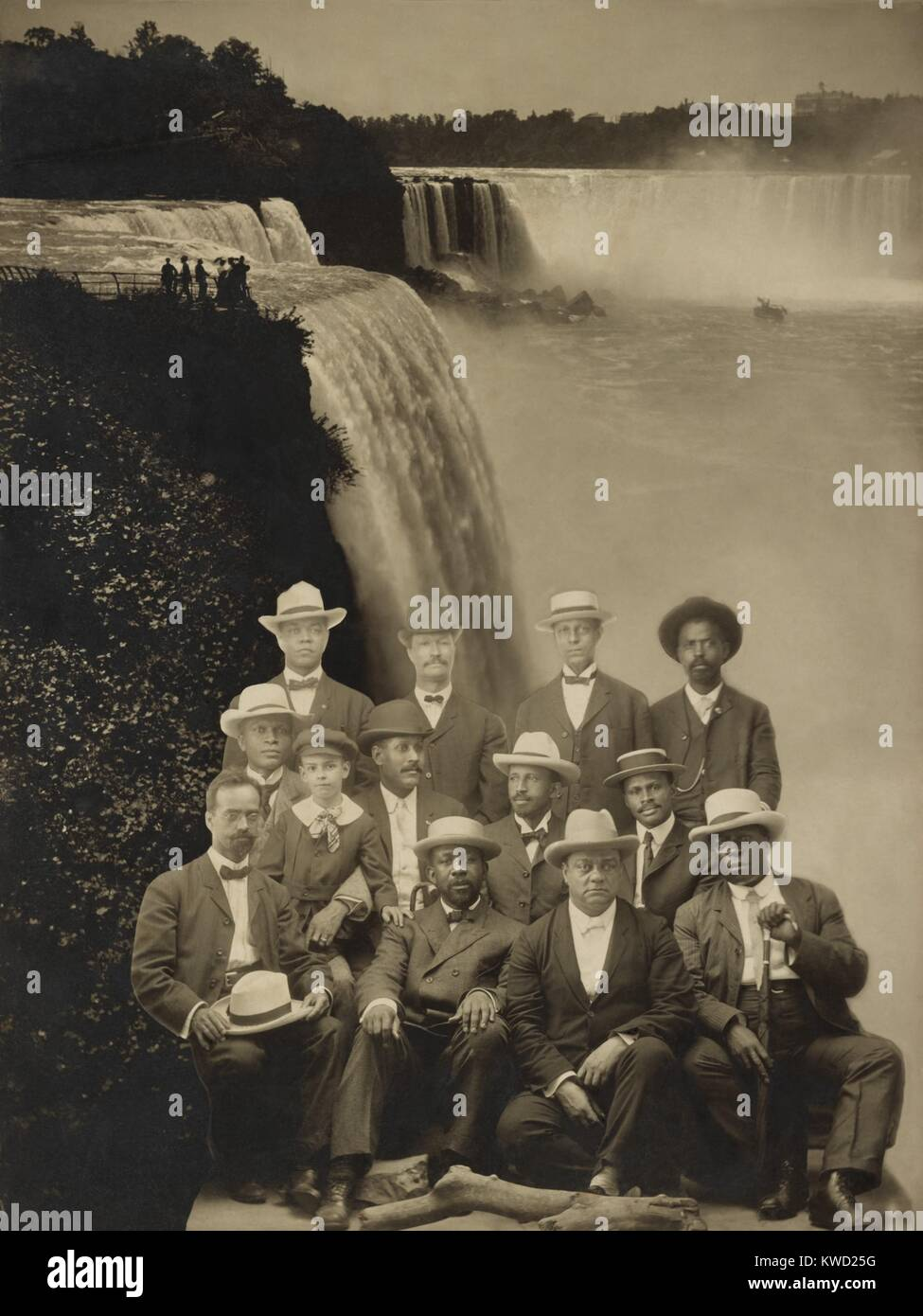 Niagara Movement founders superimposed over an image of Niagara Falls, 1905. Front Row, L-R:, Henry L. Baily of - Stock Image