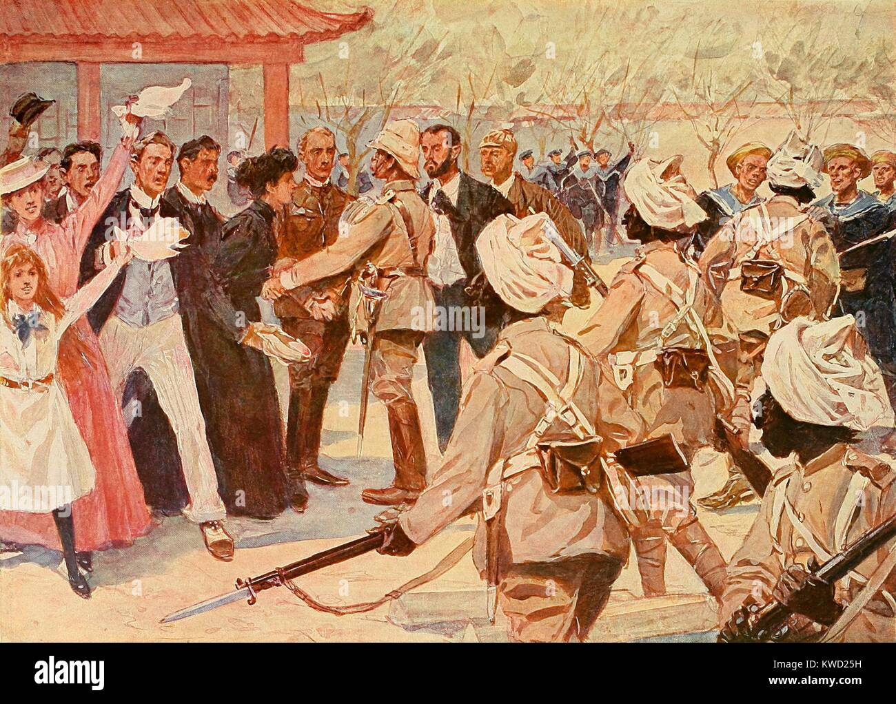 British and Sikh soldiers reached the embattled diplomatic community in Beijing on Aug. 15, 1900. They entered quietly - Stock Image