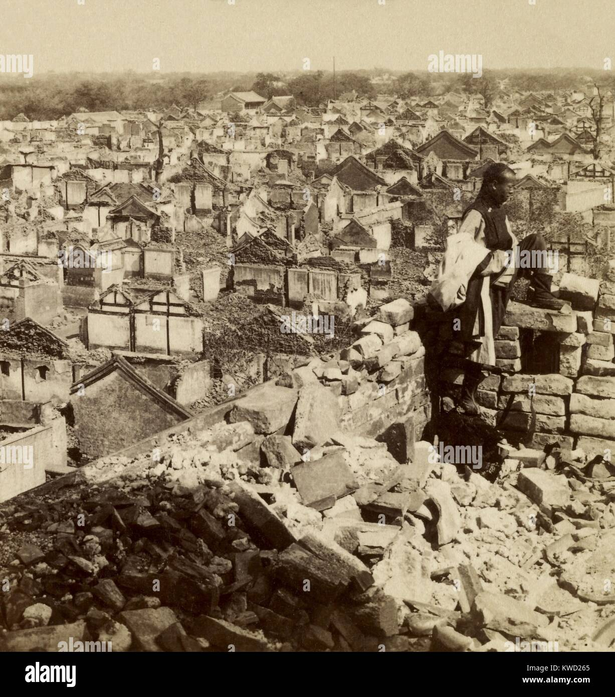 Ruins around the foreign legations in Beijing after the Boxer Rebellion. After the foreign quarters rescue in on - Stock Image