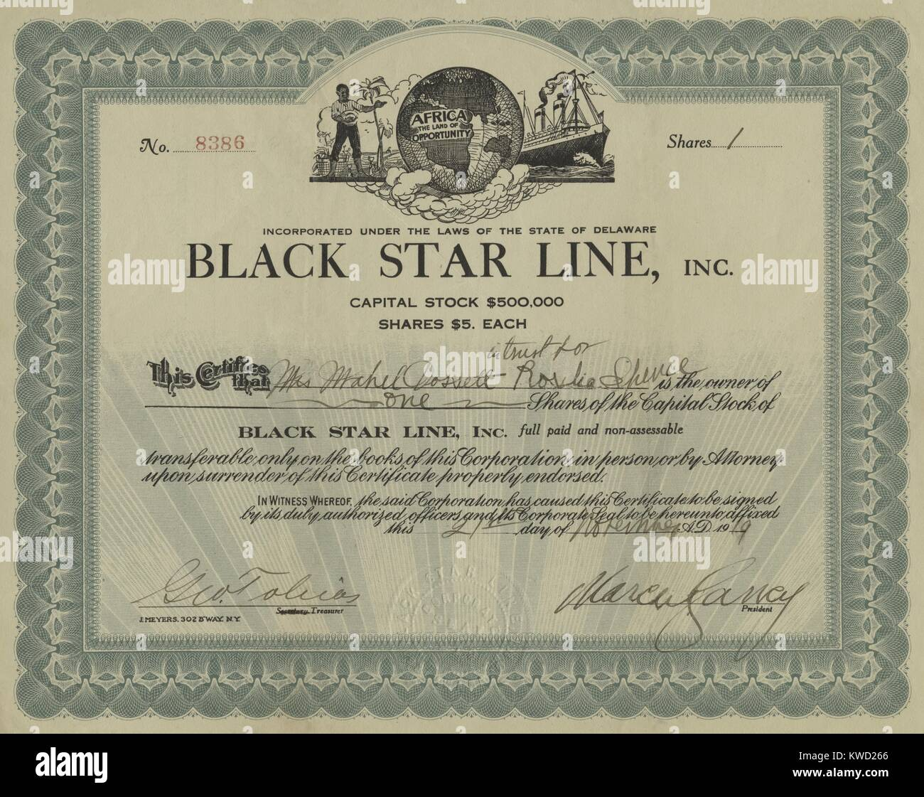 Stock certificate of Marcus Garveys Black Star Line, an international shipping company, 1919. After Garveys Black - Stock Image
