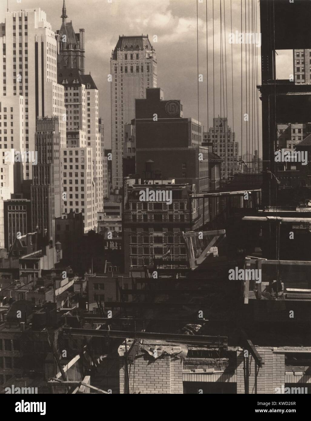 FROM MY WINDOW AT AN AMERICAN PLACE, NORTH, by Alfred Stieglitz, 1931. New York City buildings photographed from - Stock Image