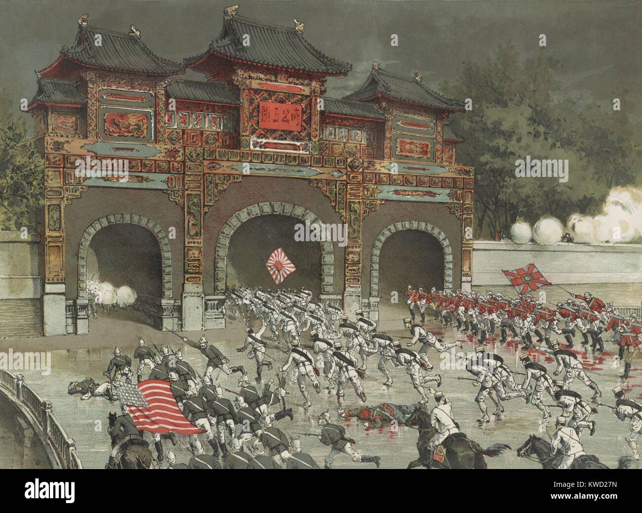 American, British, and Japanese troops storming Beijing during the Boxer Rebellion. August 14, 1900. In reality, - Stock Image