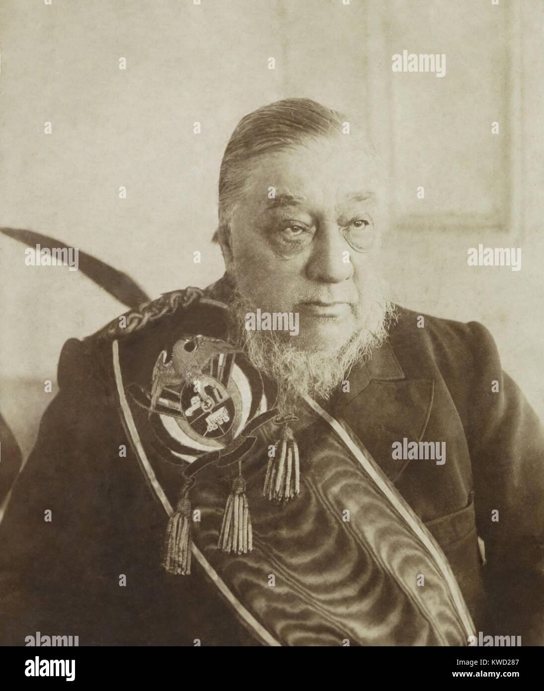 Paul Kruger, exiled President of the South African Republic, c. 1900-1904. He was forced into European exile when - Stock Image