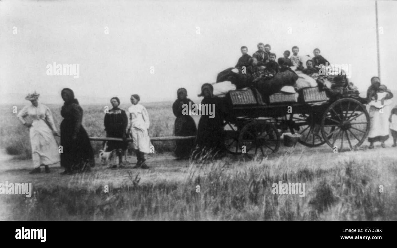 Afrikaner women pulling a wagon with their children and belongings during the Boer War in 1901. Driven off their - Stock Image