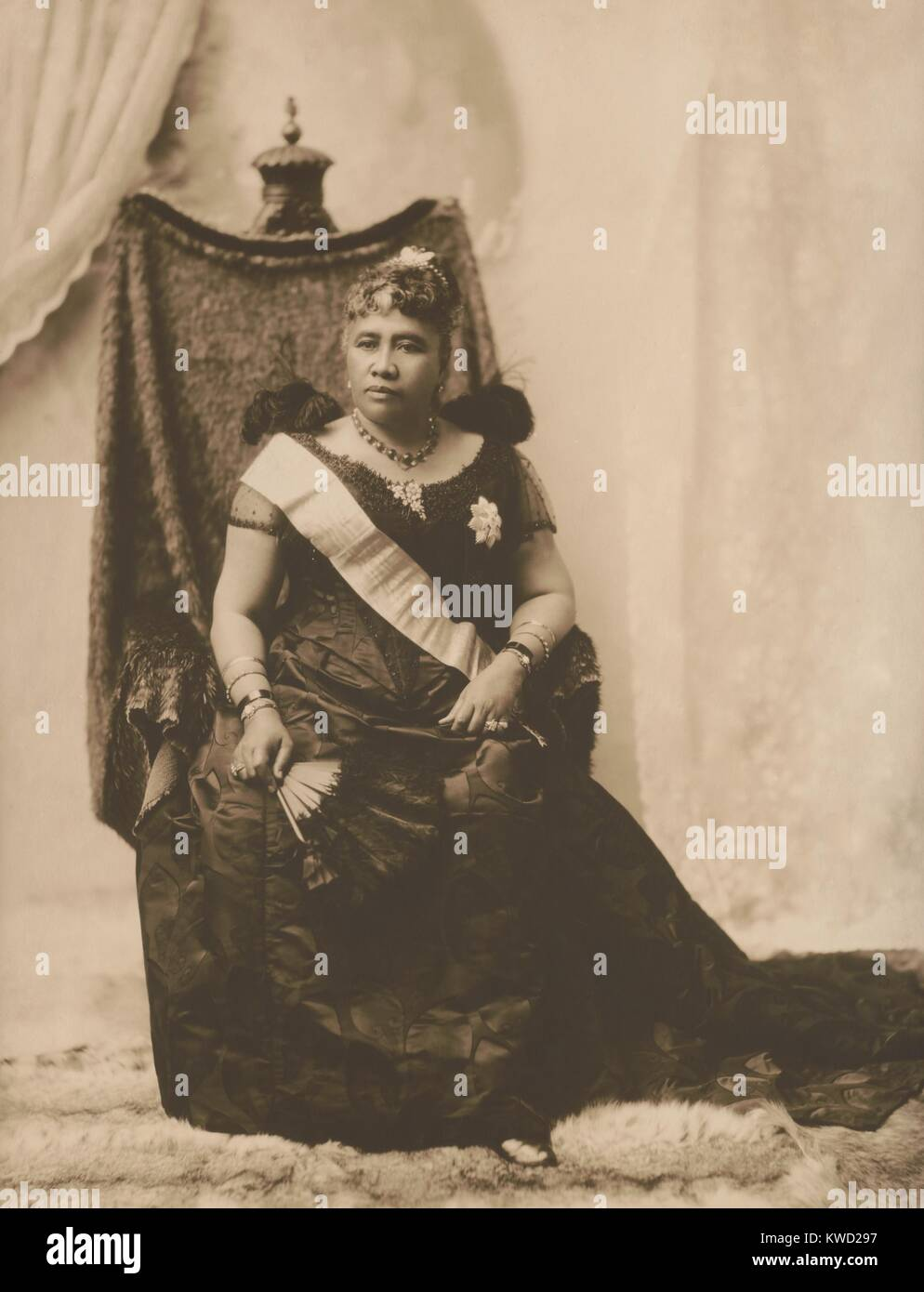 Queen Liliuokalani, last sovereign of the Hawaiian Kamehameha dynasty, 1891. She was deposed in a coup detat on - Stock Image
