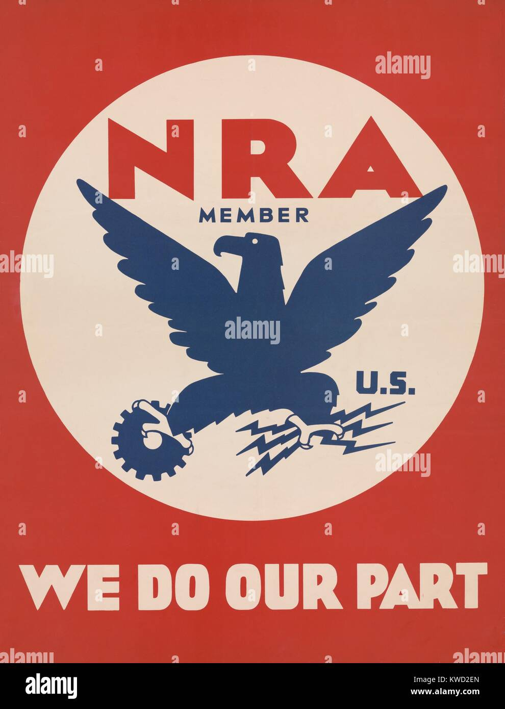 Poster promoting the Depression Era, New Deal agency, National Recovery Administration, 1933. The NRA was symbolized - Stock Image
