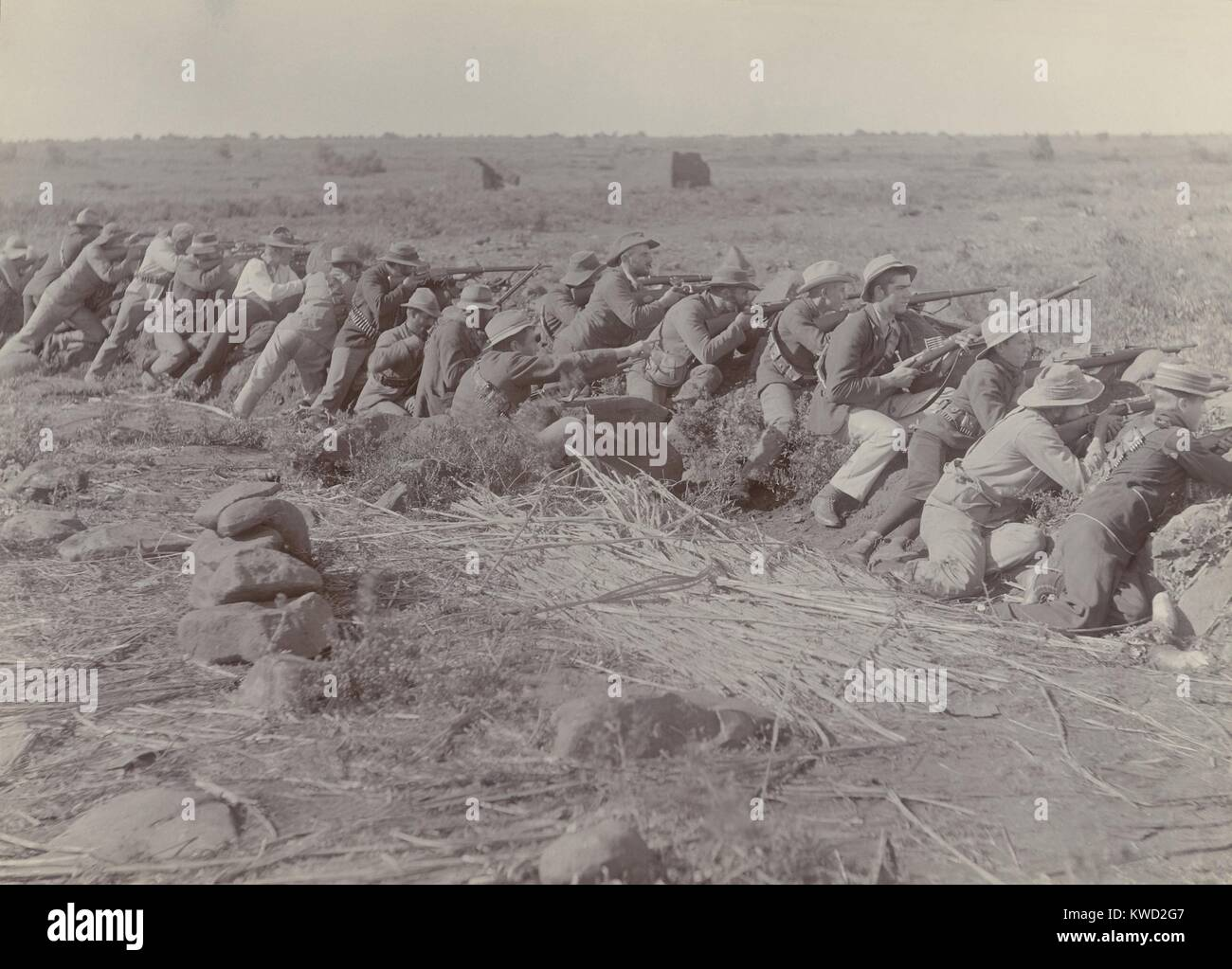 Boer soldiers in their shallow trench during the 217-day Siege of Mafeking, in the Boer War. From Oct 1899 to May - Stock Image