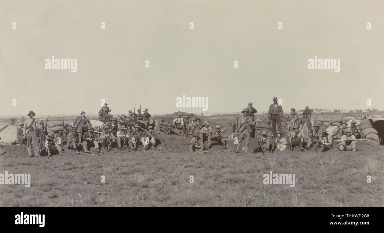 Boer soldiers in their positions during the 217-day Siege of Mafeking, in the Boer War. From Oct 1899 to May 1900, - Stock Image