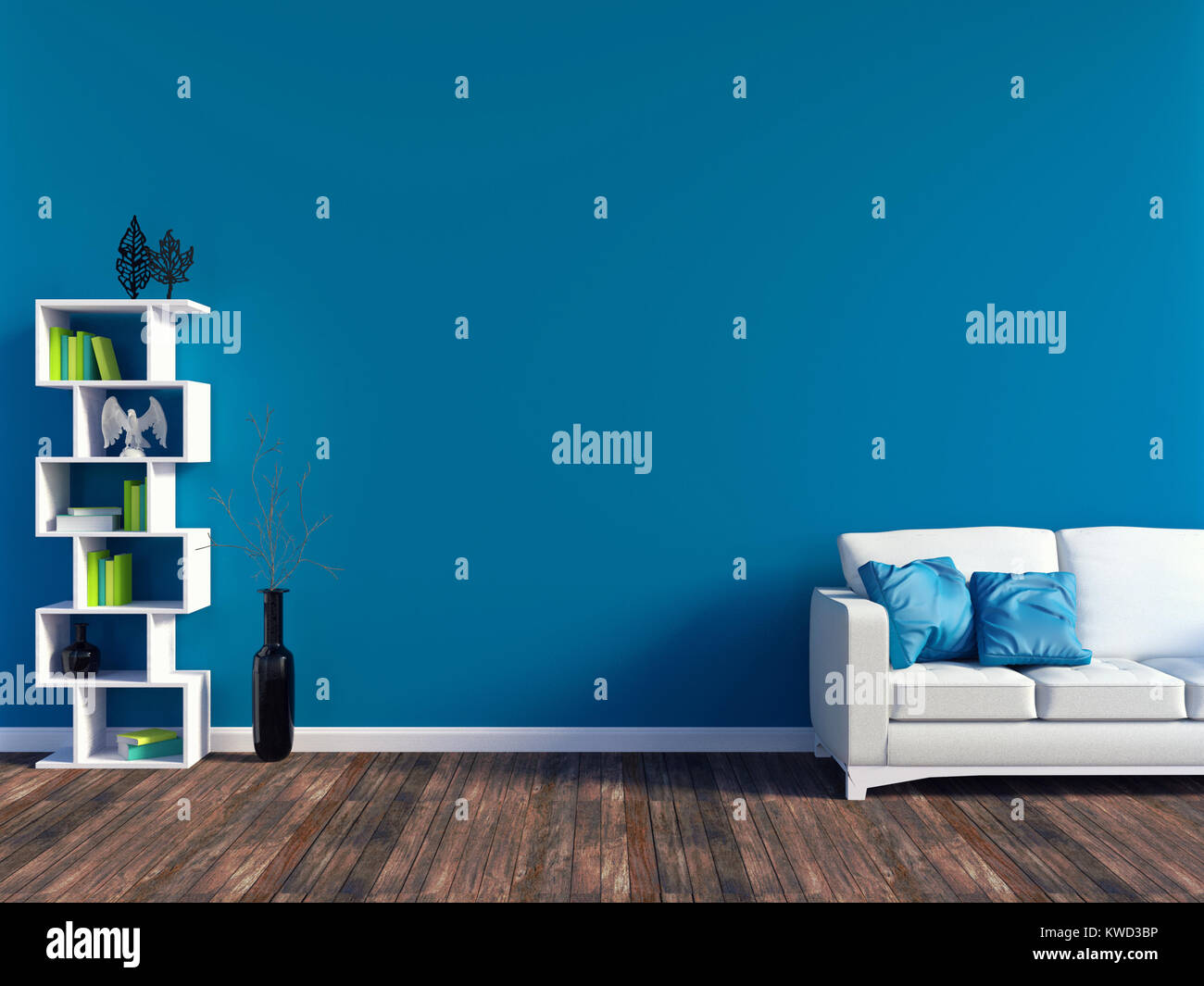 Modern blue living room interior - white leather sofa and blue wall ...