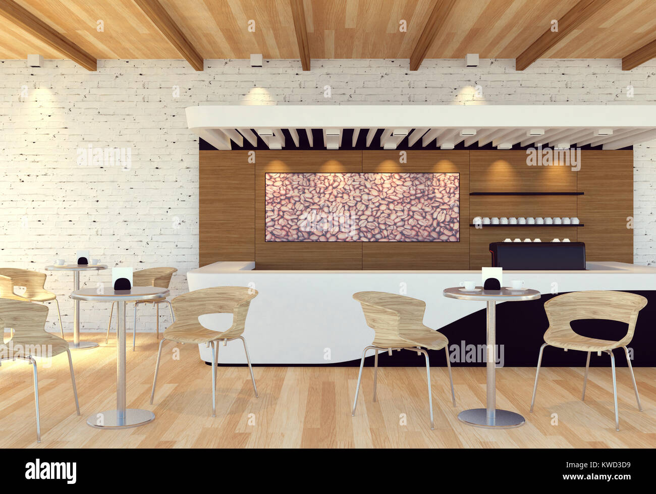 Interior of empty modern coffee shop 3d rendering