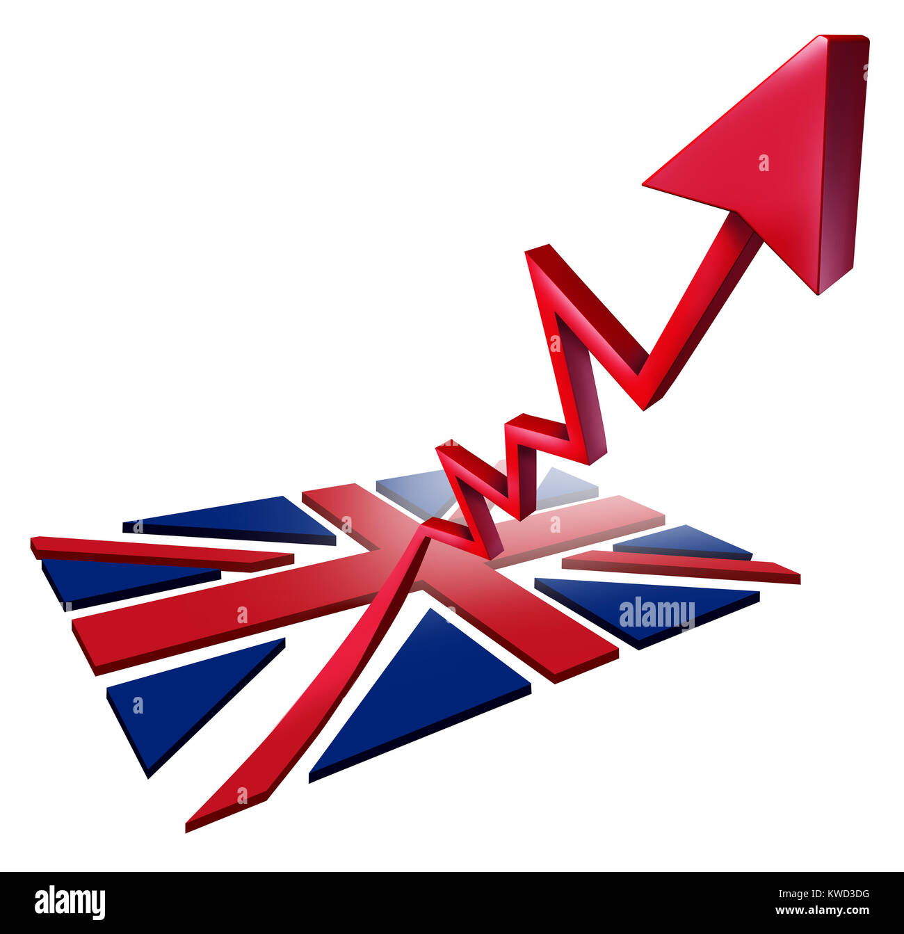 Booming British economy growth and economic Britain GDP increase as a flag transforming into an upward rising arrow - Stock Image