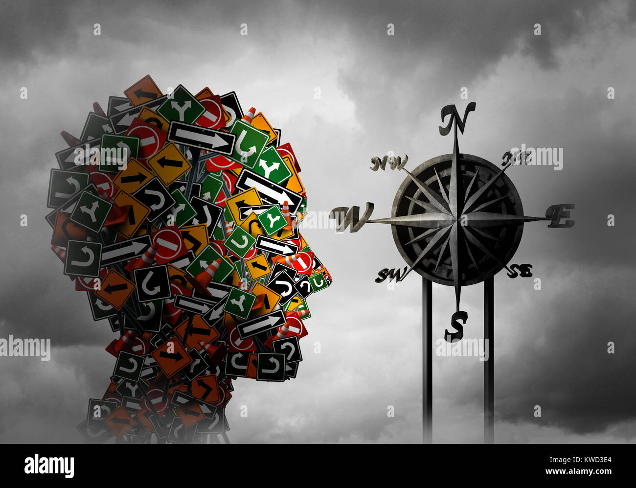Life compass and psychology direction or psychological advice and guidance or training and coaching concept as a - Stock Image