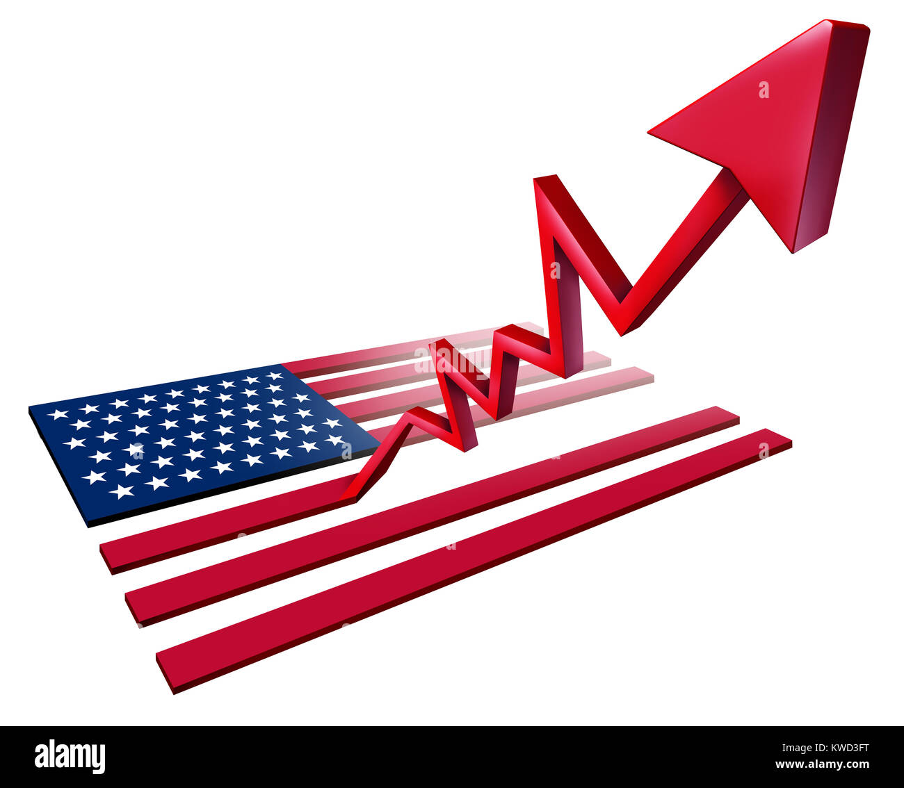 Booming American economy growth and economic United States GDP increase as a US flag transforming into an upward - Stock Image