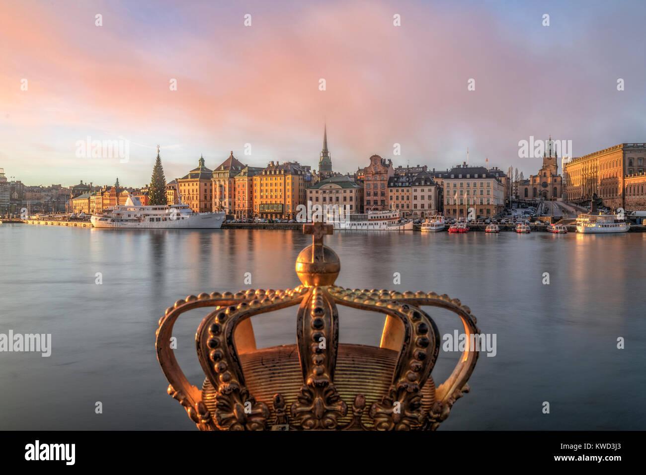 Gilded Crown on Skeppsholmsbron, Stockholm, Sweden, Europe - Stock Image