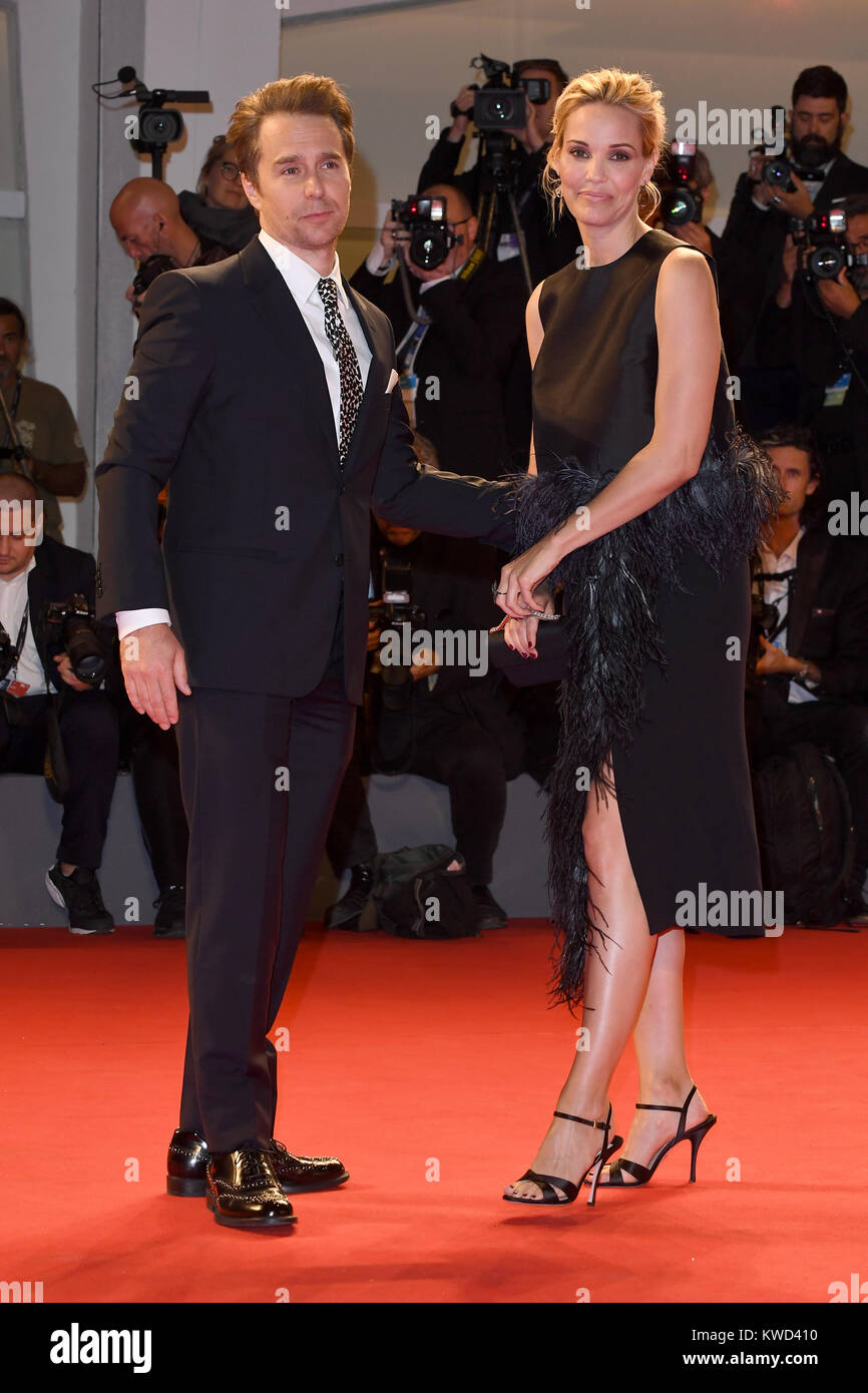 Sam Rockwell and Leslie Bibb attend the premiere for Three Billboards Outside Ebbing, Missouri during the 74th Venice - Stock Image