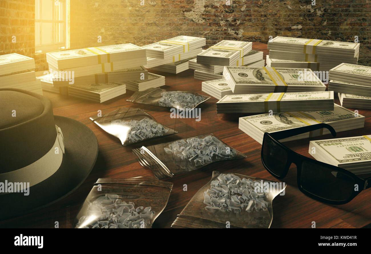 Illegal business drugs and dollars, Mafia drug dealer, 3D rendering - Stock Image