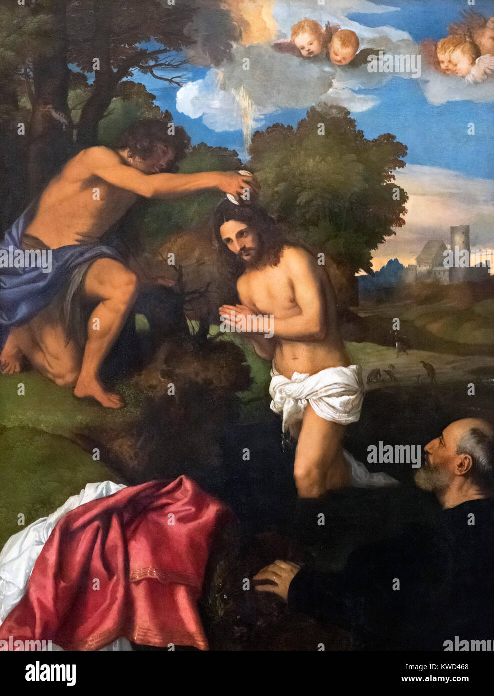 The Baptism of Christ by Tiziano Vecellio (Titian - 1490-1576), oil on panel, c.1512 - Stock Image