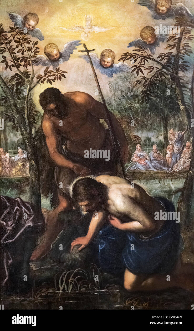 The Baptism of Christ by Domenico Tintoretto, (1560-1635), oil on canvas, c.1585 - Stock Image