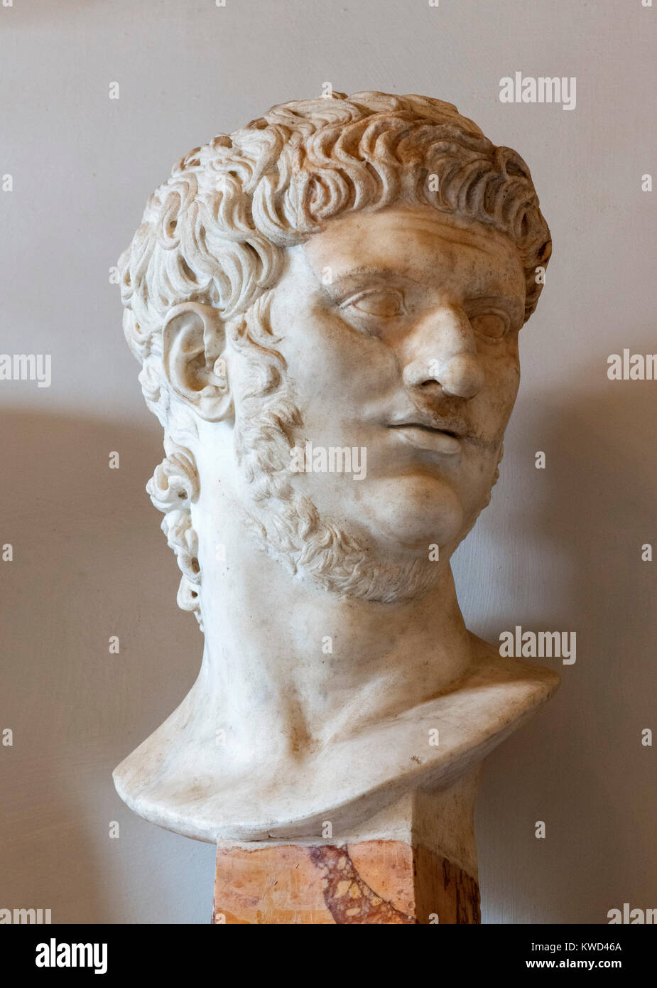 Bust of the Emperor Nero, Palazzo Nuovo, Capitoline Museums, Rome, Italy - Stock Image